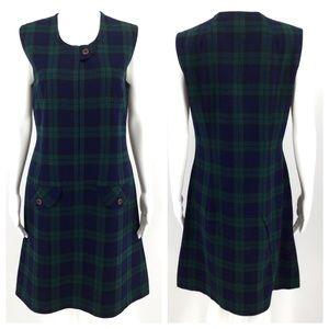 VTG PENDLETON Dress 16 Plaid Green Navy Blue